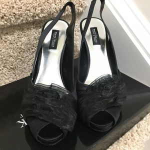 WHBM Gorgeous Black Satin PeepToe Pumps